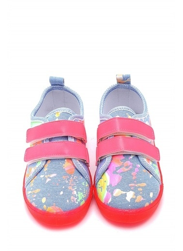 First Step Çift Cırtlı Neon Taban Çocuk Keten Ayakkabı--F-4002 Mavi